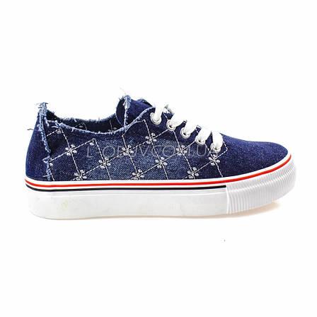 Кеды джинсовые синие на шнурках типа converse 2203-30, фото 2