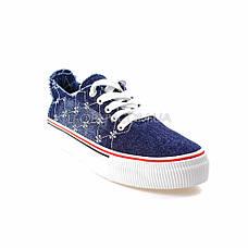 Кеды джинсовые синие на шнурках типа converse 2203-30, фото 3