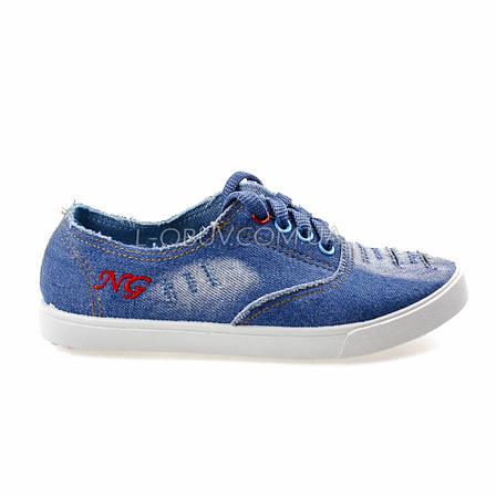 Кеди блакитні джинсові на шнурках 2205-31, фото 2