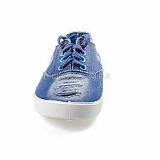 Кеды джинсовые голубые на шнурках 2205-31, фото 3
