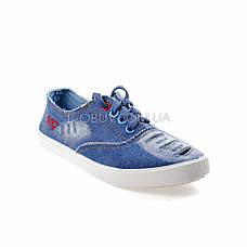 Кеды джинсовые голубые на шнурках 2205-31, фото 2
