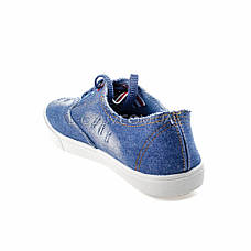 Кеди блакитні джинсові на шнурках 2205-31, фото 3