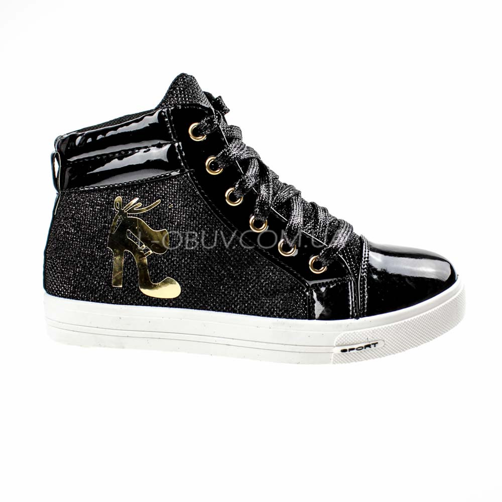 Кеды высокие черные на шнурках 2206-2