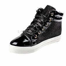 Кеды высокие черные на шнурках 2206-2, фото 2