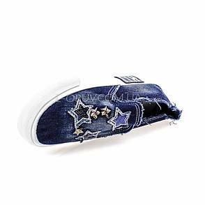 Кеды джинсовые синие с нашивками звезды типа converse 2203-301, фото 2