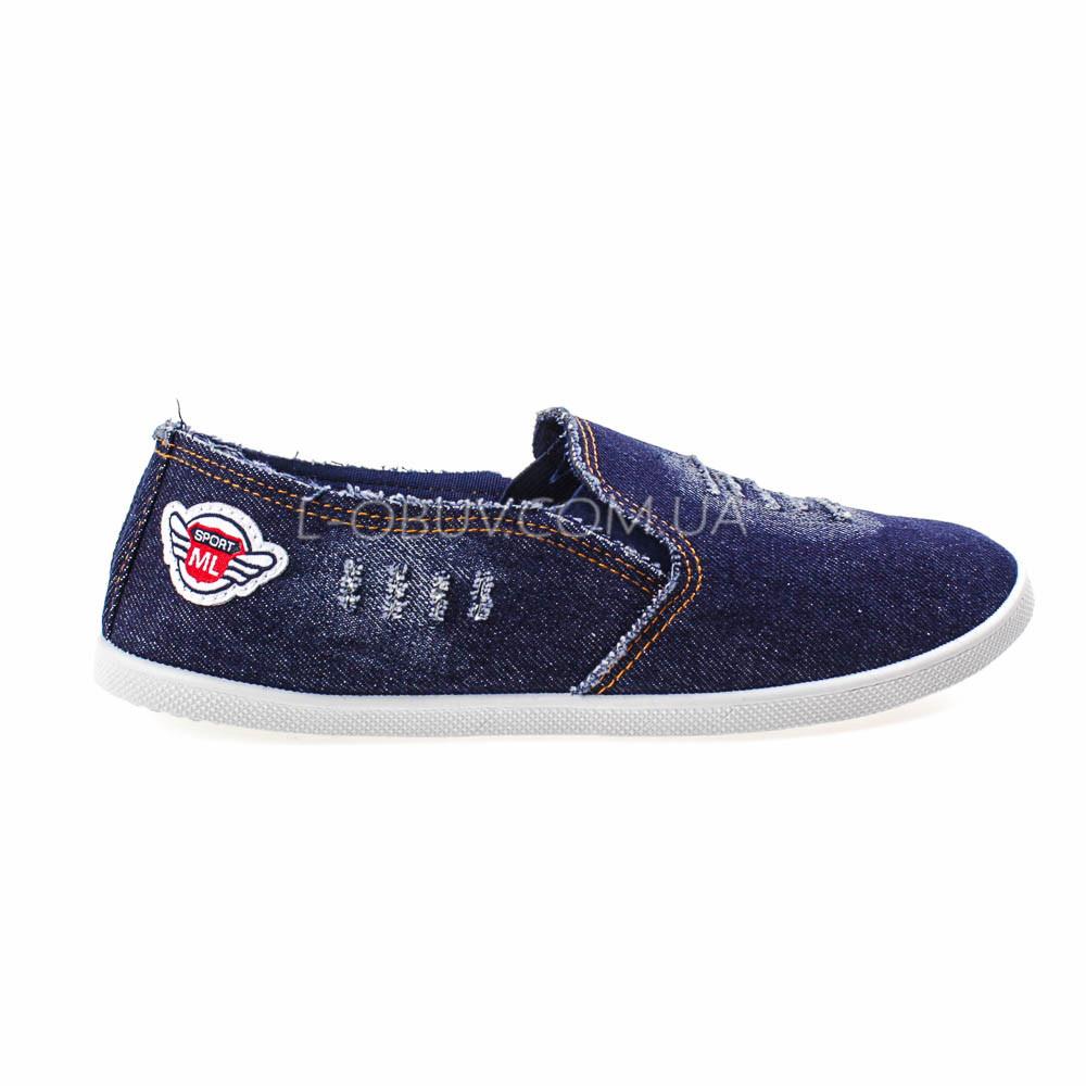 Кеды джинсовые синие с нашивкой 2202-30