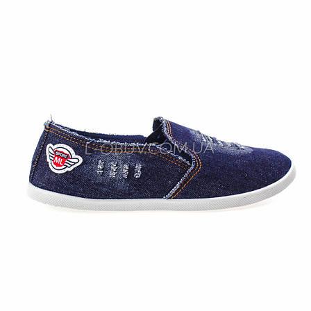 Кеды джинсовые синие с нашивкой 2202-30, фото 2