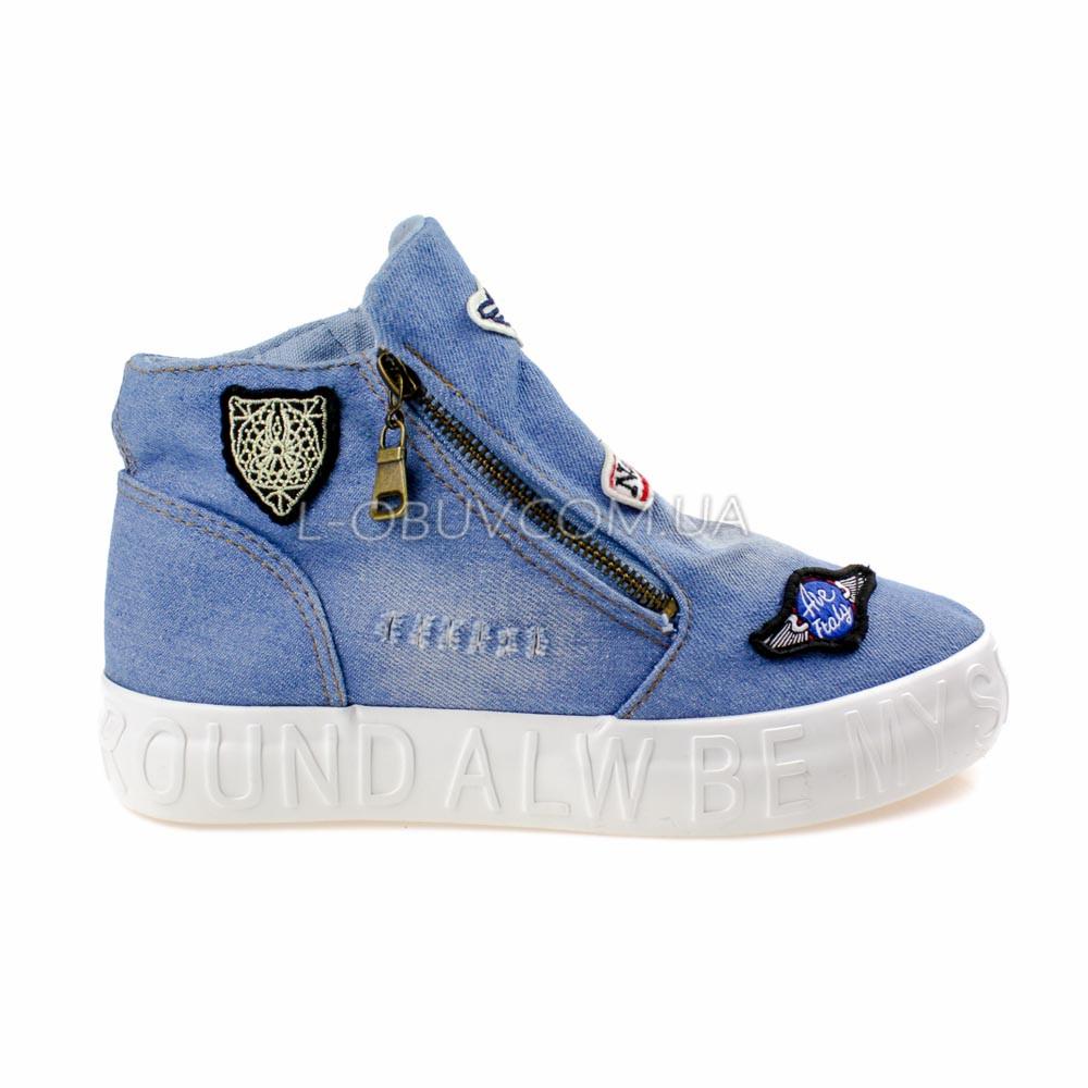 Кеды джинсовые слипоны голубые высокие на молнии типа converse 2204-31