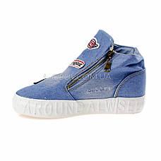 Кеды джинсовые слипоны голубые высокие на молнии типа converse 2204-31, фото 2