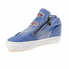 Кеды джинсовые слипоны голубые высокие на молнии типа converse 2204-31, фото 3
