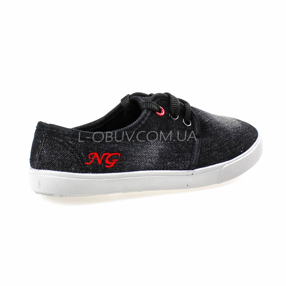 Кеды джинсовые черные на шнурках 2205-32