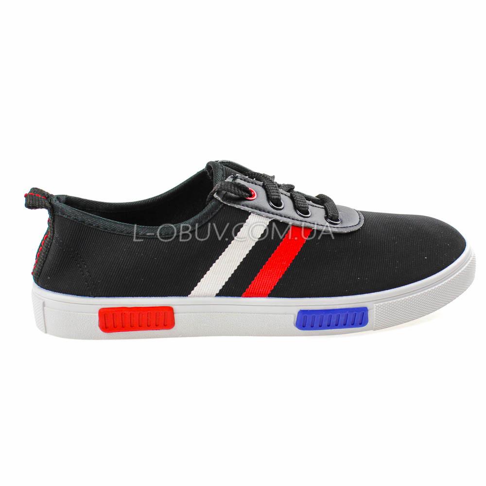 Кеды черные на шнурках 2209-2