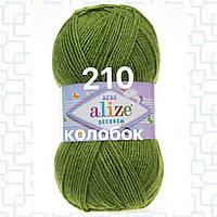 Детская пряжа  для ручного вязания 210 зеленый