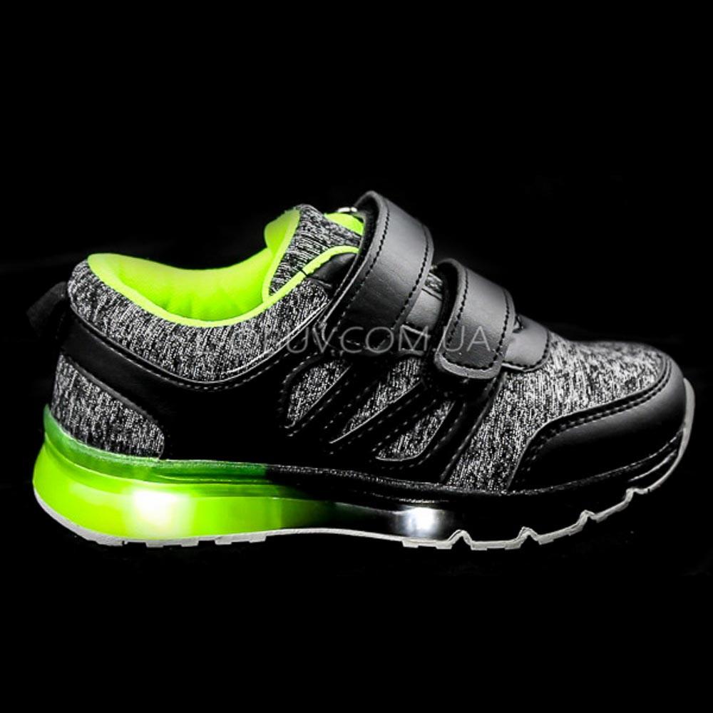 Кроссовки с подсветкой светящиеся, на батарейках черно-серые 1801-2
