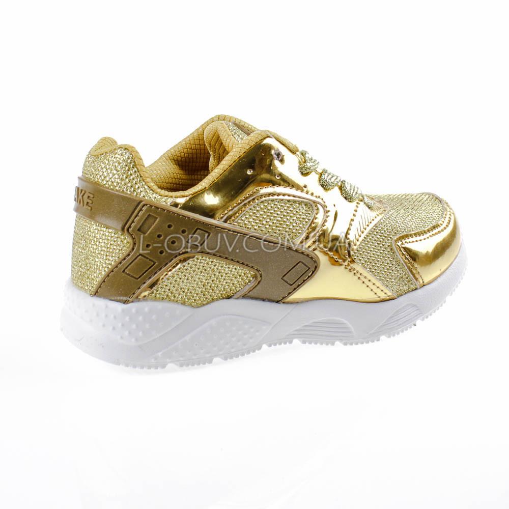 Кроссовки с сеточкой золотые Шалунишка 104-4