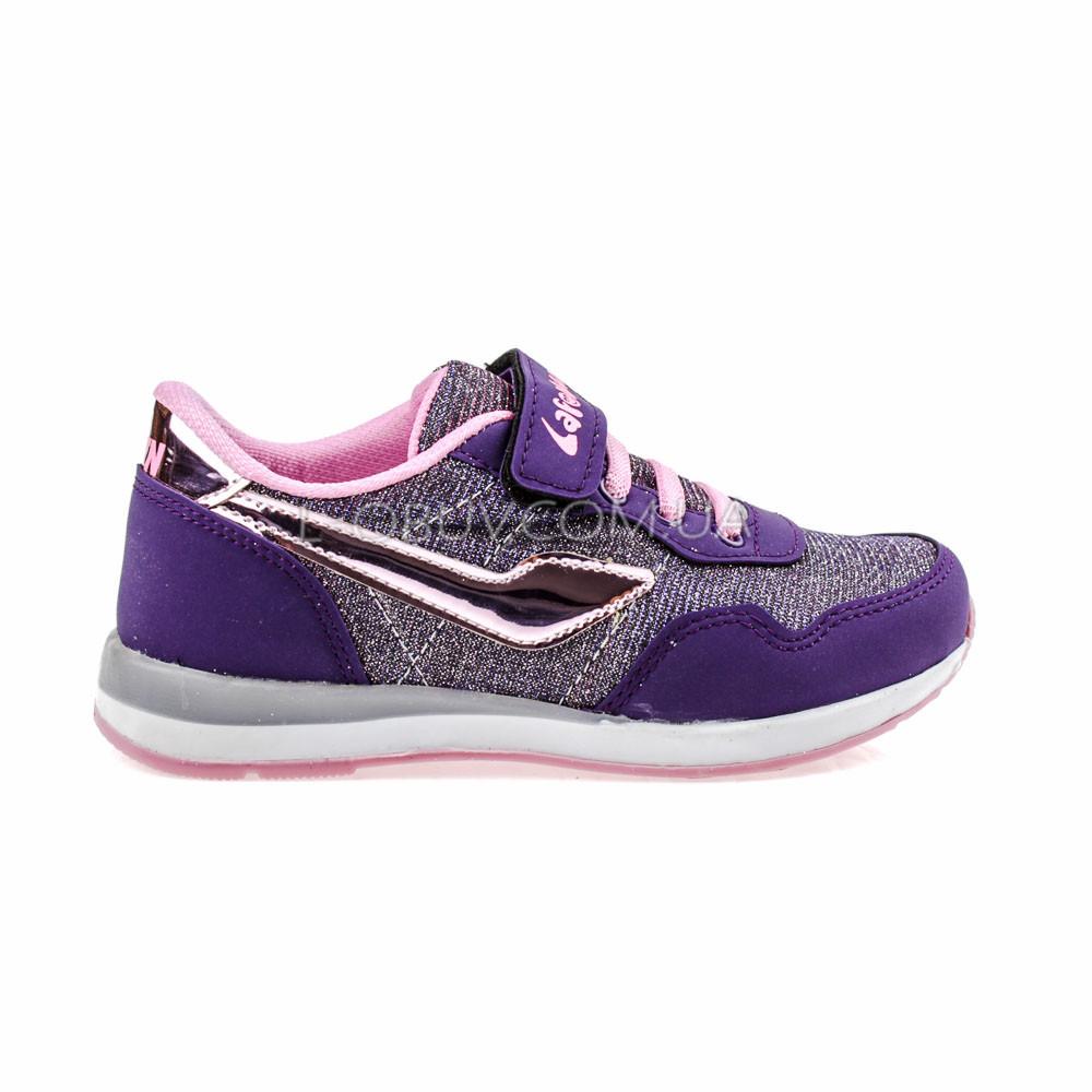 Кроссовки светящиеся сетка  фиолетово-серые 2001-128
