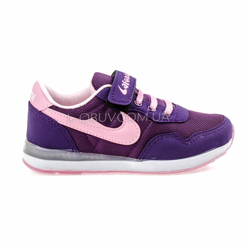 Кроссовки светящиеся сетка фиолетово-розовые 2001-12