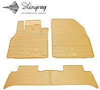 Резиновые коврики Stingray Стингрей Renault Scenic III 2009- Комплект из 4-х ковриков Бежевый в салон. Доставка по всей Украине. Оплата при получении