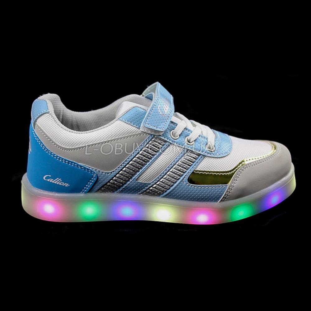 Кроссовки со светящейся LED подошвой, на батарейках, мигалки, голуб-золотой 2101-64
