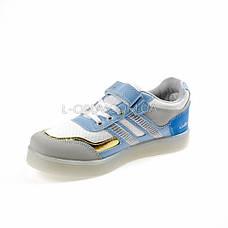 Кроссовки со светящейся LED подошвой, на батарейках, мигалки, голуб-золотой 2101-64, фото 2