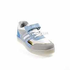 Кроссовки со светящейся LED подошвой, на батарейках, мигалки, голуб-золотой 2101-64, фото 3