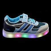 Кроссовки со светящейся LED подошвой, на батарейках, мигалки, голуб-синий 2101-69