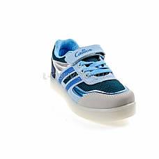 Кроссовки со светящейся LED подошвой, на батарейках, мигалки, голуб-синий 2101-69, фото 3