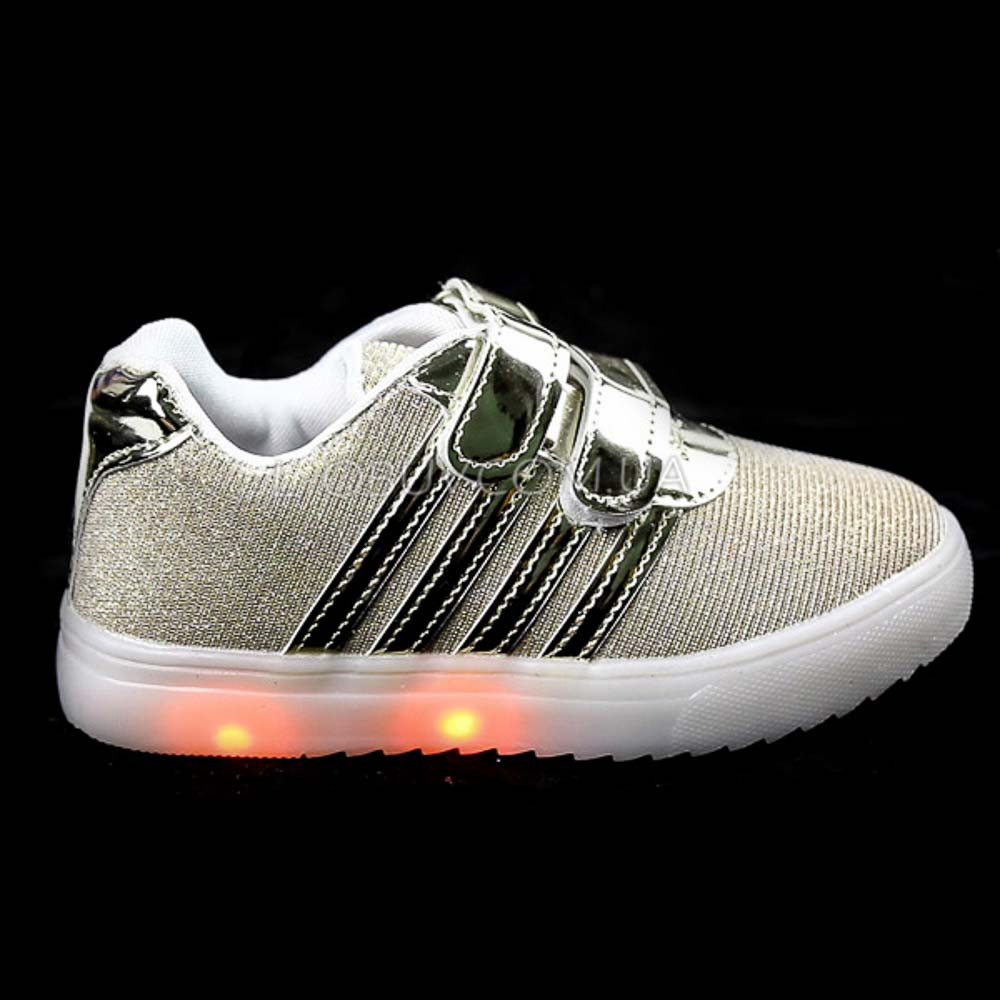 Кроссовки со светящейся LED подошвой, мигалки, золотые 402-4