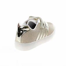 Кроссовки со светящейся LED подошвой, мигалки, золотые 402-4, фото 3