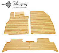 Резиновые коврики Stingray Стингрей Рено Сценик III 2009- Комплект из 4-х ковриков Бежевый в салон. Доставка по всей Украине. Оплата при получении