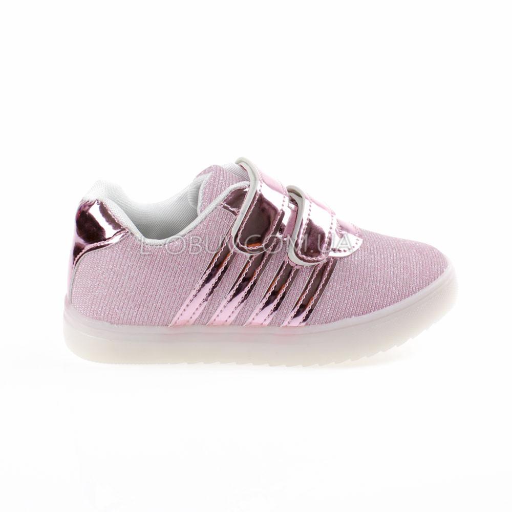 Кроссовки со светящейся LED подошвой, мигалки, розовые 402-3