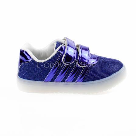 Кроссовки со светящейся LED подошвой, мигалки, синие 401-9, фото 2