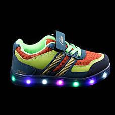 Кроссовки со светящейся LED подошвой, на батарейках, мигалки, черно-желтые 2101-216, фото 2