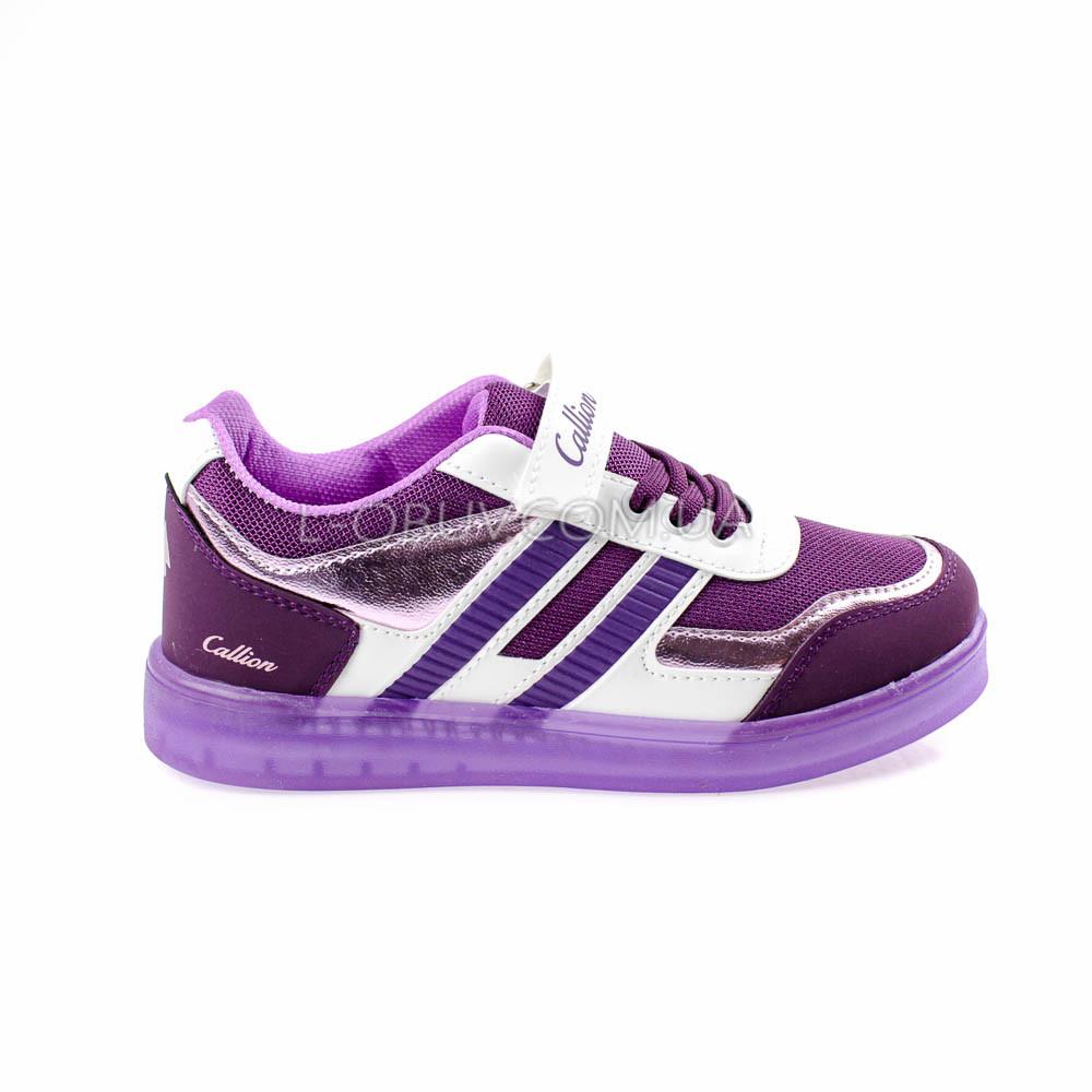 Кроссовки со светящейся подошвой, на батарейках фиолетовые 2102-12