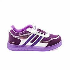Кроссовки со светящейся подошвой, на батарейках фиолетовые 2102-12, фото 3