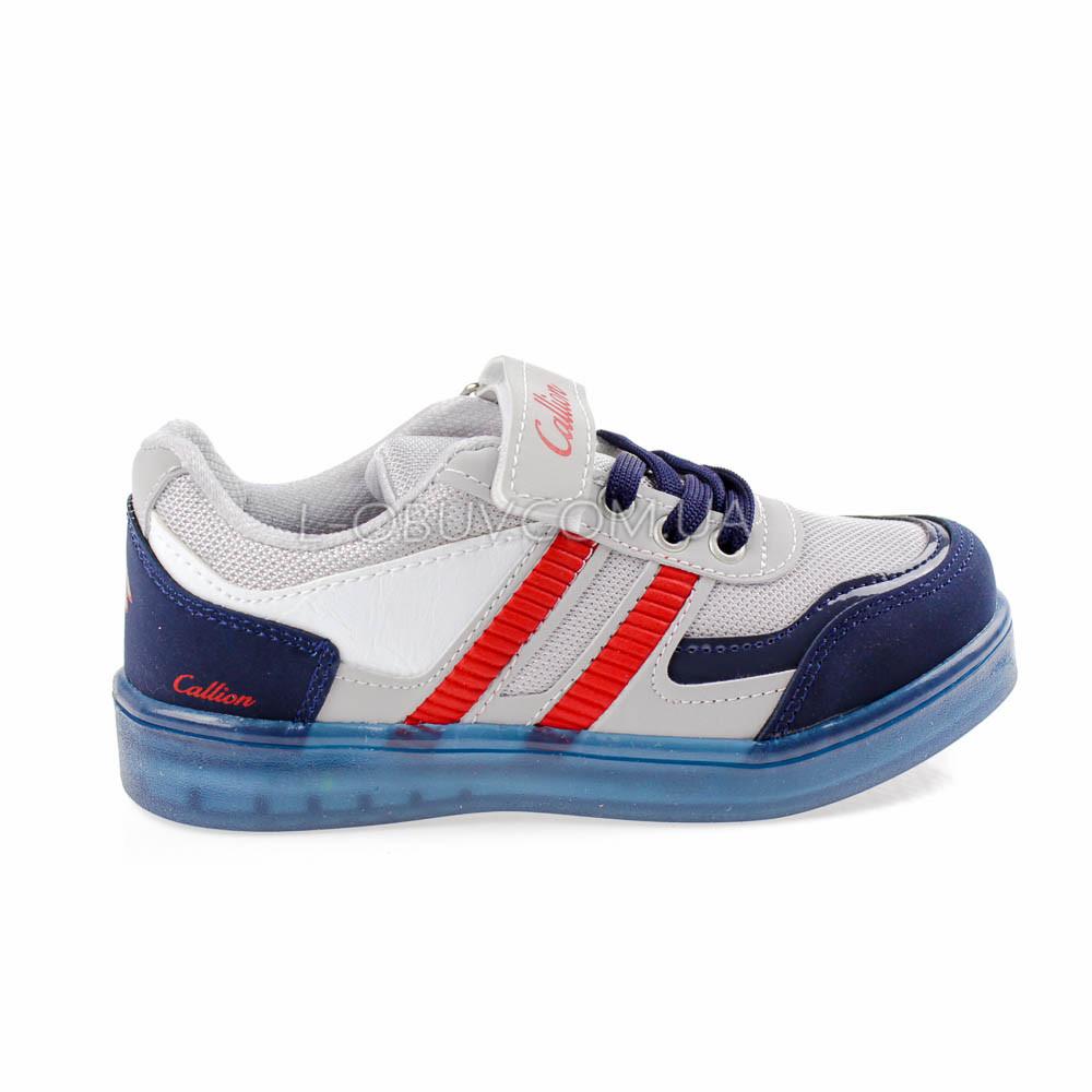 Кроссовки со светящейся подошвой, на батарейках сине-серые 2102-17