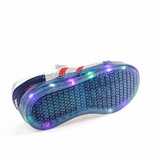 Кроссовки со светящейся подошвой, на батарейках сине-серые 2102-17, фото 2