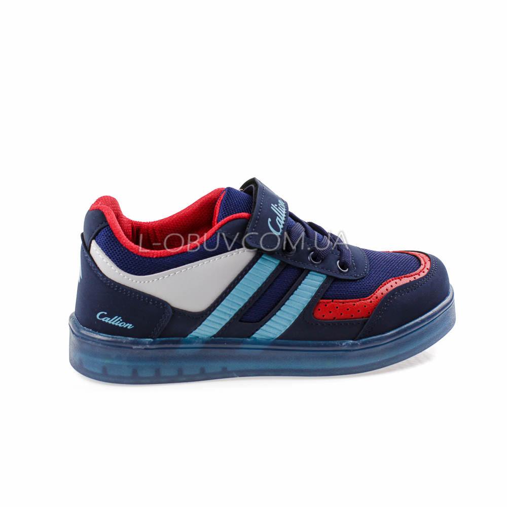 Кроссовки со светящейся подошвой, на батарейках синие 2102-97