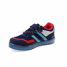 Кроссовки со светящейся подошвой, на батарейках синие 2102-97, фото 3