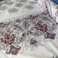 Сатин с купонным коричневым орнаментом на бежевом фоне, ширина 220 см, фото 1