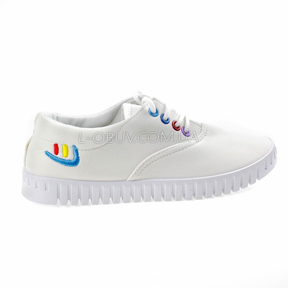 Мокасины-кеды белые на шнурках 2210-1