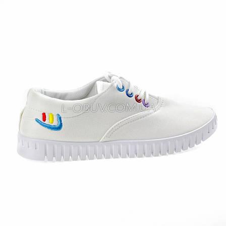 Мокасины-кеды белые на шнурках 2210-1, фото 2