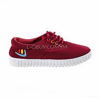 Мокасины-кеды бордовые на шнурках 2210-18