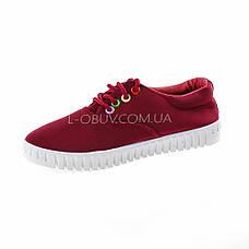 Мокасины-кеды бордовые на шнурках 2210-18, фото 2