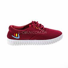 Мокасины-кеды бордовые на шнурках 2210-18, фото 3