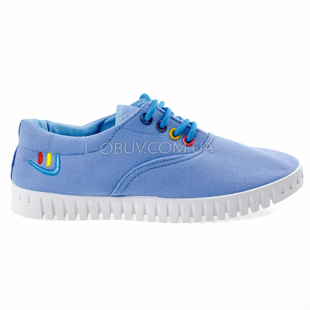 Мокасины-кеды голубые на шнурках 2211-6