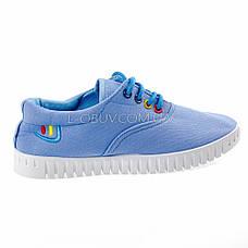 Мокасины-кеды голубые на шнурках 2211-6, фото 2