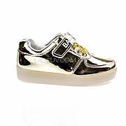 Светящиеся кроссовки, на батарейках, мигающая подошва, золотые 1702-4