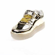 Светящиеся кроссовки, на батарейках, мигающая подошва, золотые 1702-4, фото 2