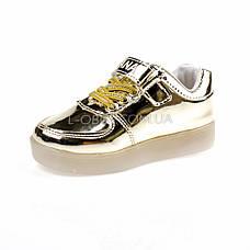 Светящиеся кроссовки, на батарейках, мигающая подошва, золотые 1702-4, фото 3